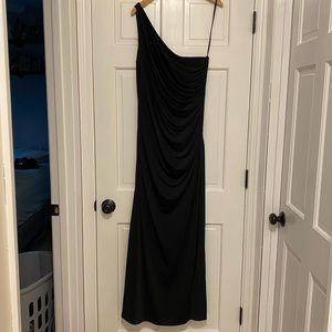 Formal shoulder dress with side beading